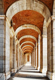 The passage with arches and columns to the Royal Palace of Madri Royalty Free Stock Photos