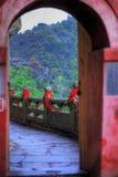 Passage arqué au temple de Wudang Shan Image libre de droits