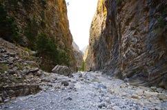 Passage av Samaria Gorge, Kreta, Grekland royaltyfri fotografi