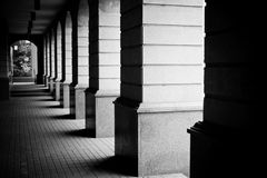 Passage in black and white. Perspective of a passage in contrasty black and white Royalty Free Stock Photos