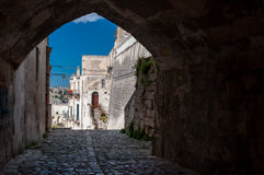 Passage and buildings in ancient town Sassi di Matera Royalty Free Stock Images