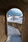 Passage in the Castle of Gruyeres in Switzerland Royalty Free Stock Image