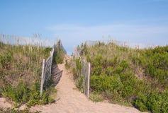 Passage couvert au-dessus des dunes de sable en Caroline du Nord Photographie stock libre de droits