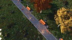 Passage couvert avec les bancs vides en parc d'automne au crépuscule banque de vidéos