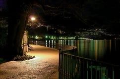 Passage couvert de lac la nuit Photo stock