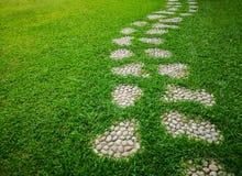 Passage couvert de mod?le de courbe de pierre de progression de gravier sur la cour fra?che d'herbe verte, pelouse lisse de tapis photographie stock