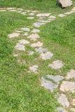 Passage couvert de pierre et d'herbe Image stock
