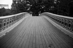 Passage couvert de pont et d'arbres d'arc dans le style noir et blanc au Central Park Image stock