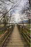 Passage couvert en bois au Moorage Image libre de droits