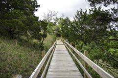 Passage couvert en bois de pont Photo stock