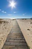 Passage couvert en bois menant à la plage au-dessus des dunes de sable Photo stock