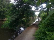 Passage couvert sur le canal de mun de tonne de chanson Branche de canal de Prawet Burirom photos stock