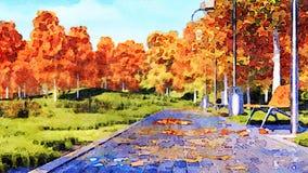 Passage couvert vide dans le paysage d'aquarelle de parc d'automne illustration stock