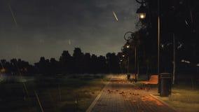 Passage couvert vide de parc la nuit automne avec la forte pluie illustration stock