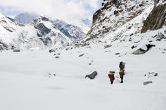 Passage de La de Cho - Népal Image stock