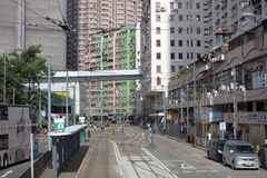 passage de tram à l'île du HK occidental Image stock