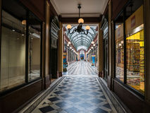Passage des Princes arcade, Paris. Paris, France, Sept 5, 2015: Passage des Princes, one of Paris's covered arcades, specializes in toy stores Royalty Free Stock Photos