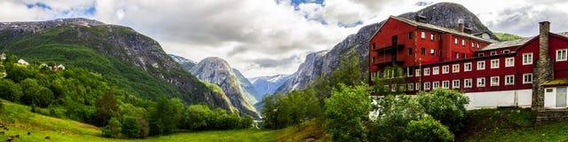 Passage et hôtel de Stalheim dans Hordaland en Norvège Photographie stock libre de droits