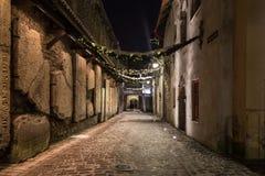 Passage för ` s för St Catherine i Tallinn på natten arkivbilder