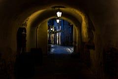 Passage för ` s för St Catherine på natten i Tallinn arkivbild