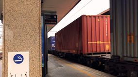 Passage of a freight train in the railway station. Pavia, Italy stock footage