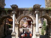Passage through the Gate of the Roman Emperor Hadrian. Antalya,Turkey Stock Photos