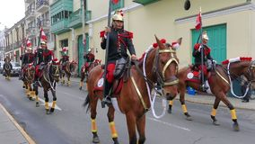 Passage of the guard on horseback Lima Peru. Lima Peru July 7 2018 passage of the guard on horseback Lima during the national festival at the end of July stock footage