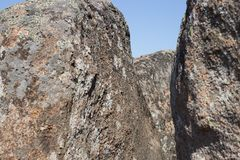 The passage between huge rocks Royalty Free Stock Images