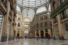 Passage interior in Naples, Italy. Shopping gallery in Napoli. Travel and shopping concept. Naples, Italia - 14/06/2018: Passage interior in Naples, Italy royalty free stock images