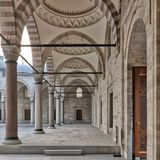 Passage leading to Sulaymaniye mosque, with columns, arches and marble floor, Fatih district, Istanbul, Turkey Royalty Free Stock Image