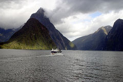 Passage through Milford Sound. Early morning excursion boat on Milford Sound Stock Image