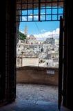 Passage into old Sassi di Matera from Piazza Vittorio Veneto Stock Photo