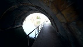 Passage through the old tunnel in city Metz. 4k stock video footage