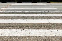 Passage pour piétons blanc à travers la route Photos libres de droits