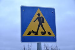 Passage pour piétons de poteau de signalisation pour des plongeurs en parc national de Thingvellir Photos libres de droits