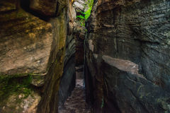 The passage between the rocks in the canyon crevice. Path like nature labirint, landscape.  Royalty Free Stock Photos