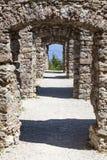 Passage in ruin Castel Belfort in Italy Stock Image