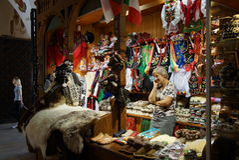 Passage with souvenir stalls of the gothic hall Sukiennice, Main Market Square, Krakow Stock Photo