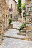Passage with stairs in Peratallada Stock Images