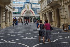 Passage street in Baku city, shops Royalty Free Stock Photos