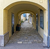 Passage to a small footway Stock Images