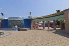 Passage to the ticket office of the water park `Tiki-Tak` in the village of Dzhemete, Anapa Royalty Free Stock Photos