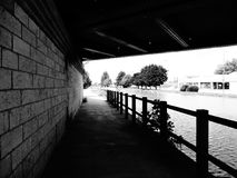The passage under the bridge of the channel. Royalty Free Stock Image