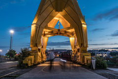 Passage under the yellow crane titan by night in Nantes Royalty Free Stock Images