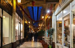 The passage Verdeau - shopping area with art galery, stores, book stores,coffee shop, confectionery. royalty free stock photography