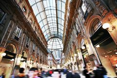 Passage Vittorio in Milan. Galleria Vittorio Emmanuele II first shopping centre, with amazing glass roof, most popular architecture in Milan, Italy Royalty Free Stock Photos