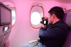 Passageiro da classe de economia de Airbus A380 dos emirados Fotos de Stock