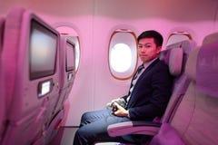 Passageiro da classe de economia de Airbus A380 dos emirados Fotografia de Stock