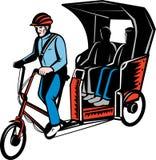 Passageiro do excitador do riquexó de ciclo ilustração royalty free