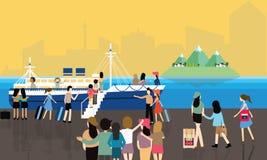Passageiro ocupado dos povos das atividades do porto marítimo que entra no barco para cruzar curso ilustração do vetor